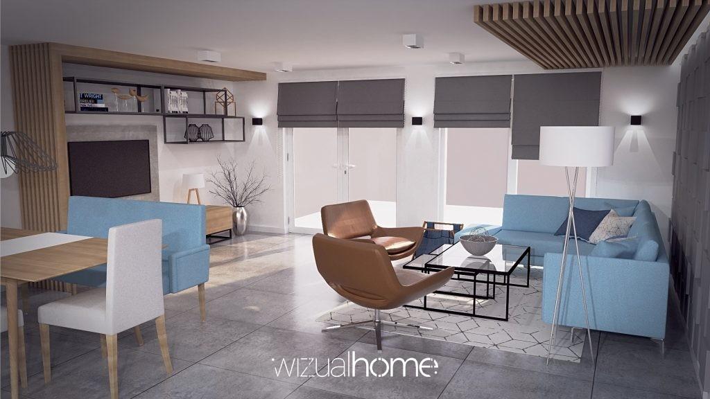 Projektowanie wnętrz salonów i kuchni.