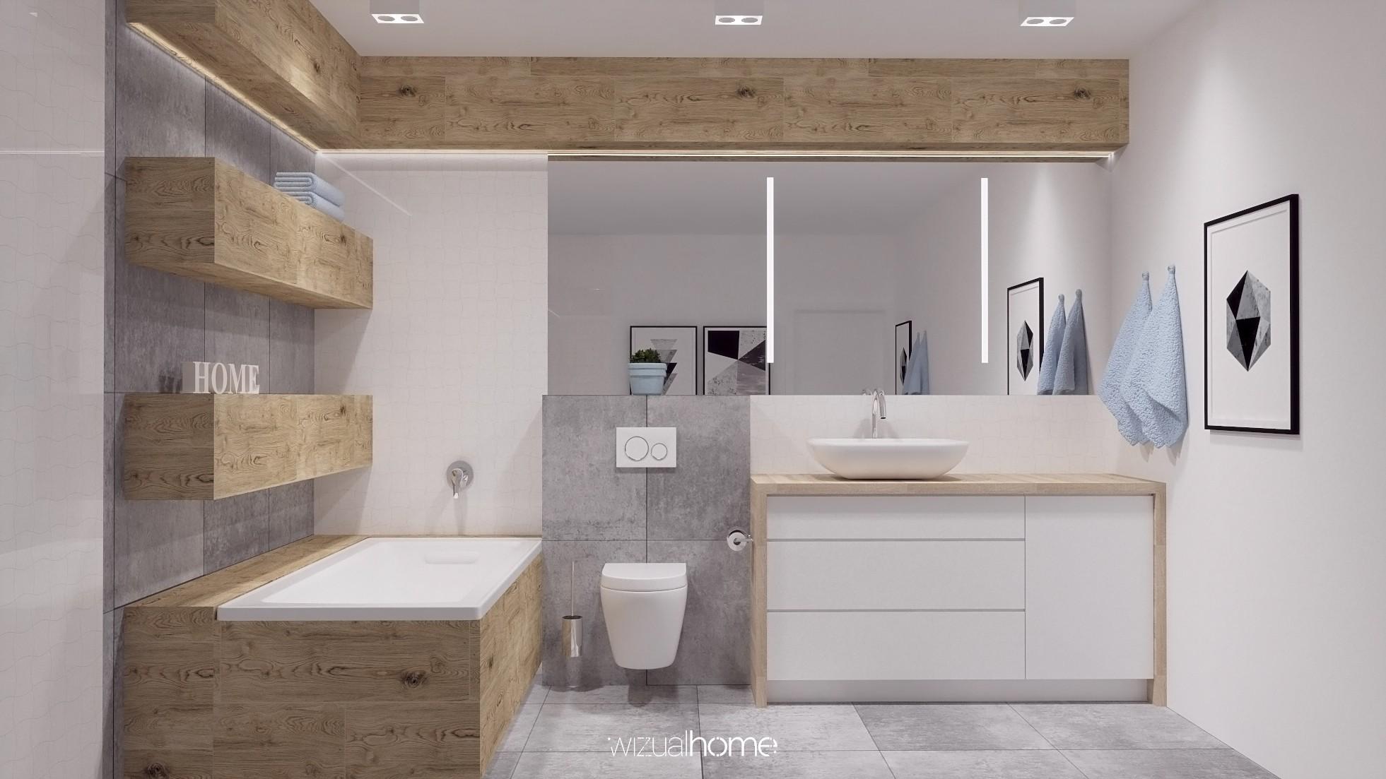 Projekt dużej łazienki z lustrem i umywalką nablatową.