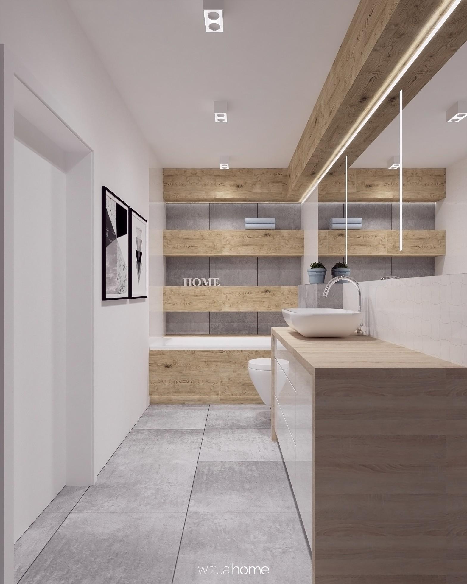 Projekt dużej łazienki z lustrem i podświetleniem LED.