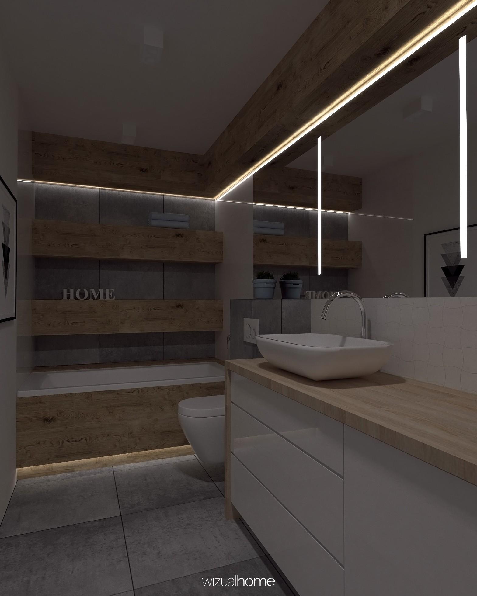 Wizualizacja łazienki z dużym lustrem.