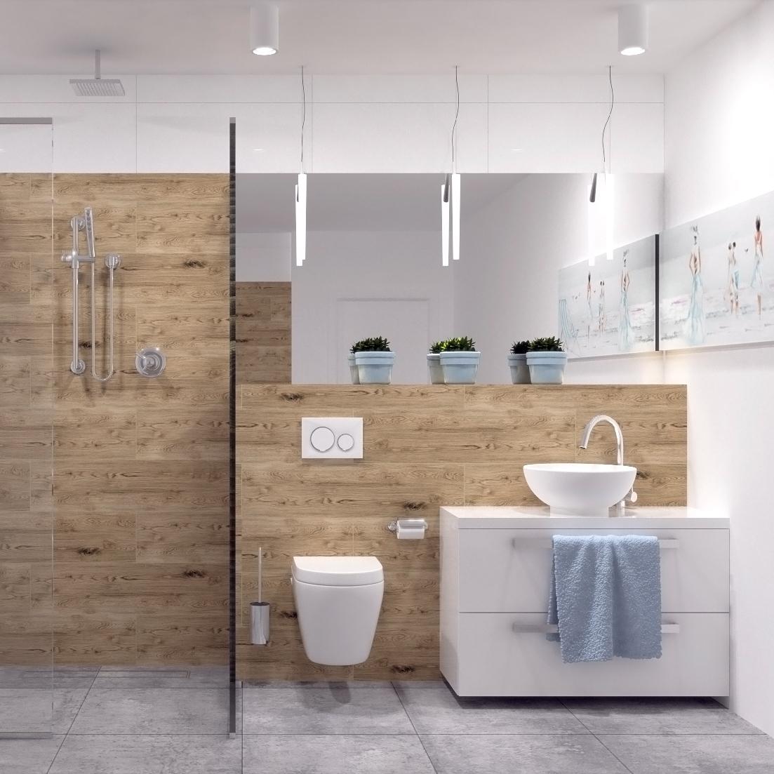 Projekt łazienki w odcieniach szarości i brązu.