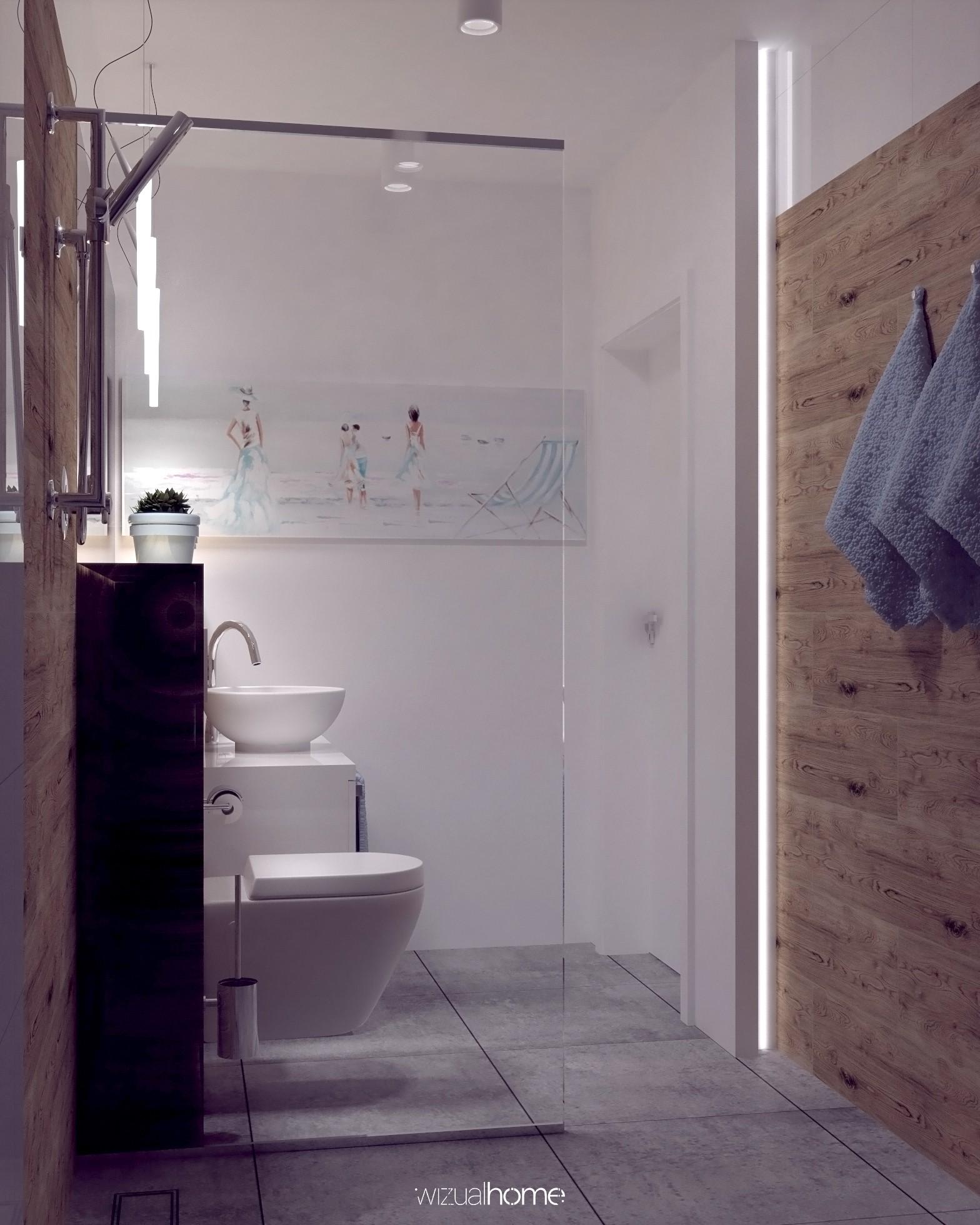 Projekt małej łazienki.