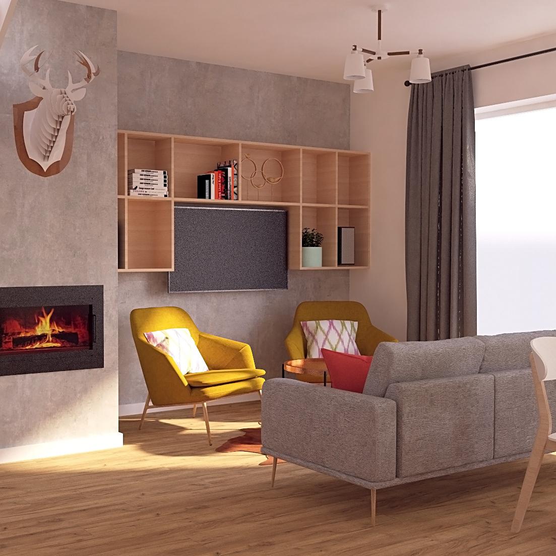 Projekt salonu w domu jednorodzinnym typu stodoła