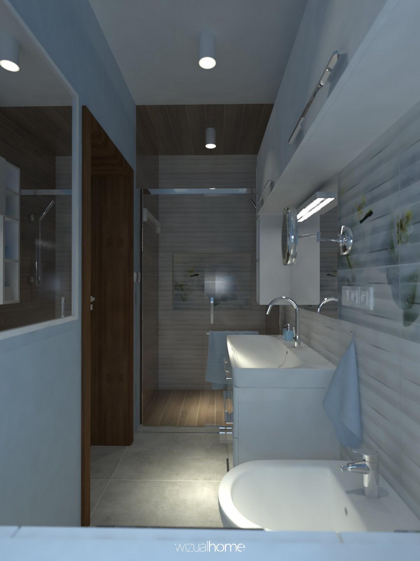 Projekt łazienki w kolorze niebieskim
