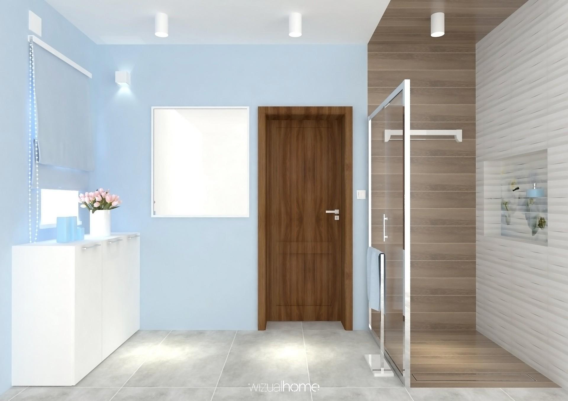 Wizualizacja łazienki w kolorze niebieskim w domku jednorodzinnym.