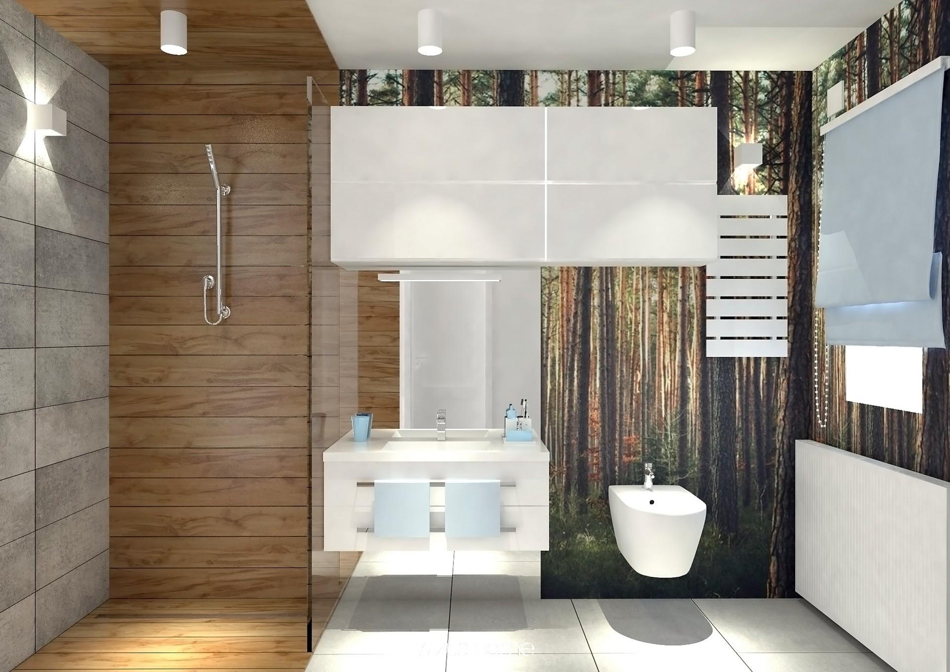Wizualizacja łazienki w kolorze niebieskim