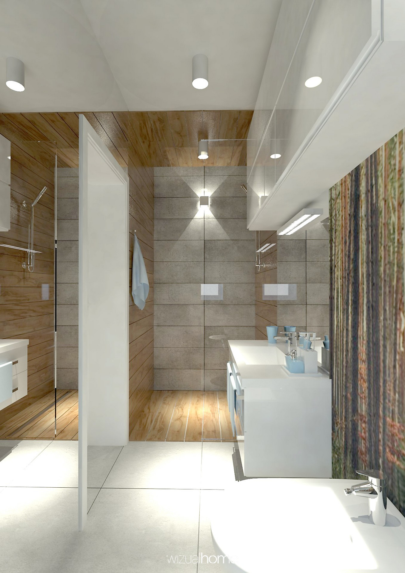 Projekt łazienki w domku jednorodzinnym.