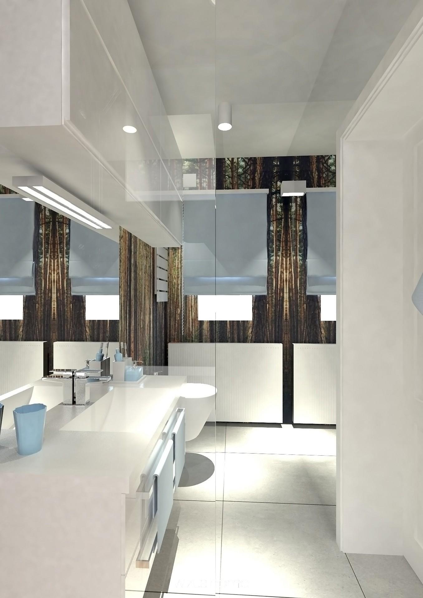 Łazienka w nowoczesnym stylu w odcieniach błekitu.
