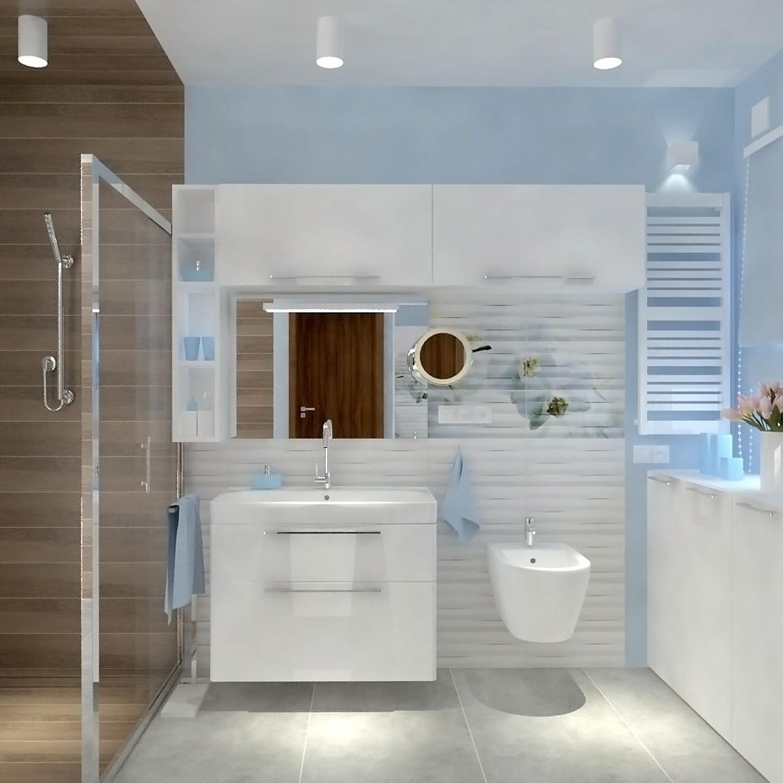 Projekt łazienki wodcieniach błętkitu.