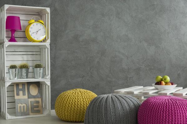 Refresh home interior- bright color decorations in concrete room
