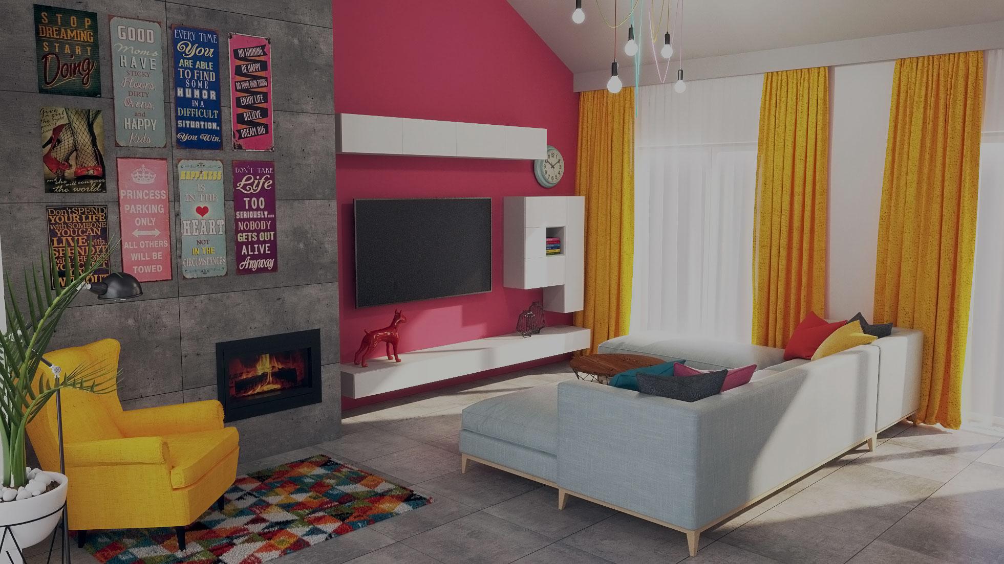 Projekt salonu w stylu retro wykonany przez wizualhome